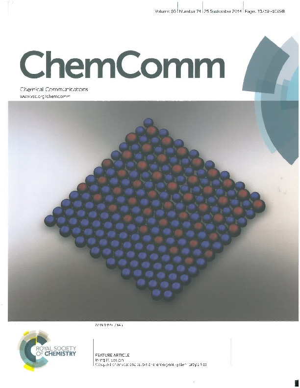 Cover Page of Chemical Communications Volume 50, Issue 74, 25 September 2014