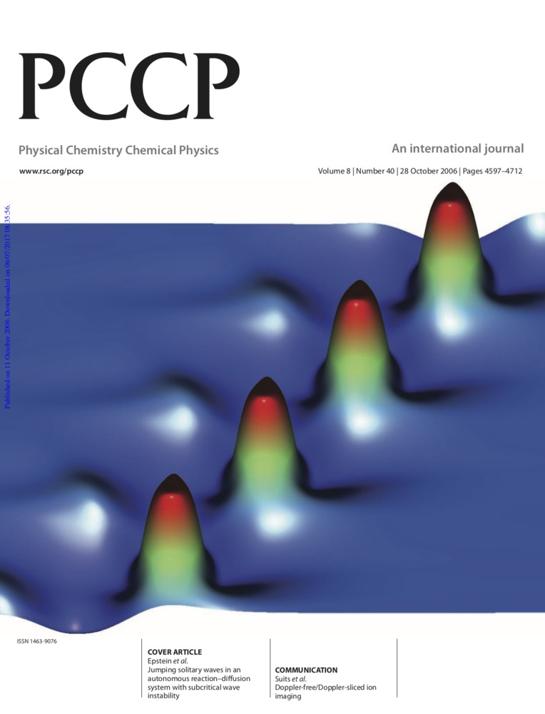 Cover Page of Physical Chemistry, Chemical Physics, Volume 8, Issue 40, 28 October 2006<br />
