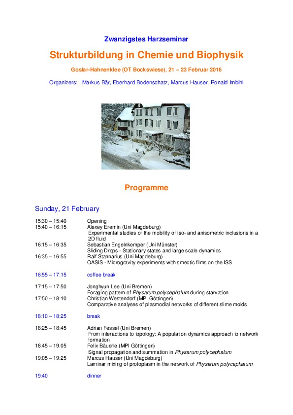 2016 Harzseminar - Scientific program