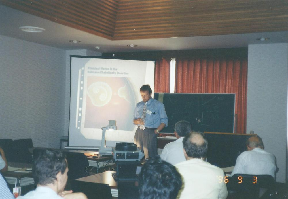 Photo of Stefan Müller during his presentation at the conference in Nara, Japan in 1996