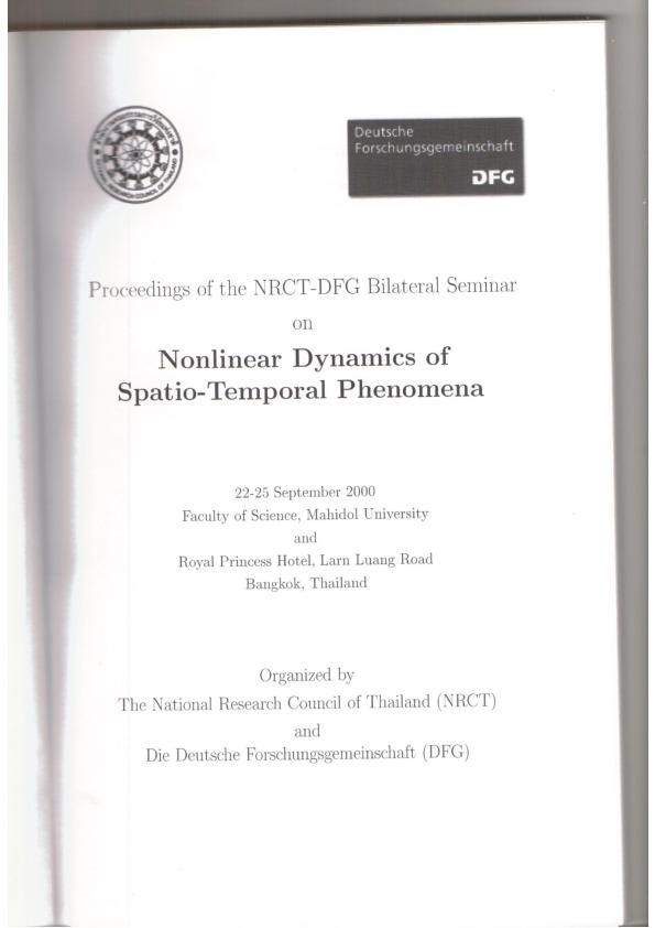 2000 Bangkok NRCT-DFG Bilateral Seminar on Nonlinear Dynamics of Spatio-Temporal Phenomena - Program