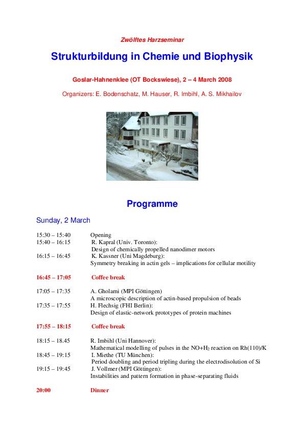 2008 Harzseminar - Scientific program
