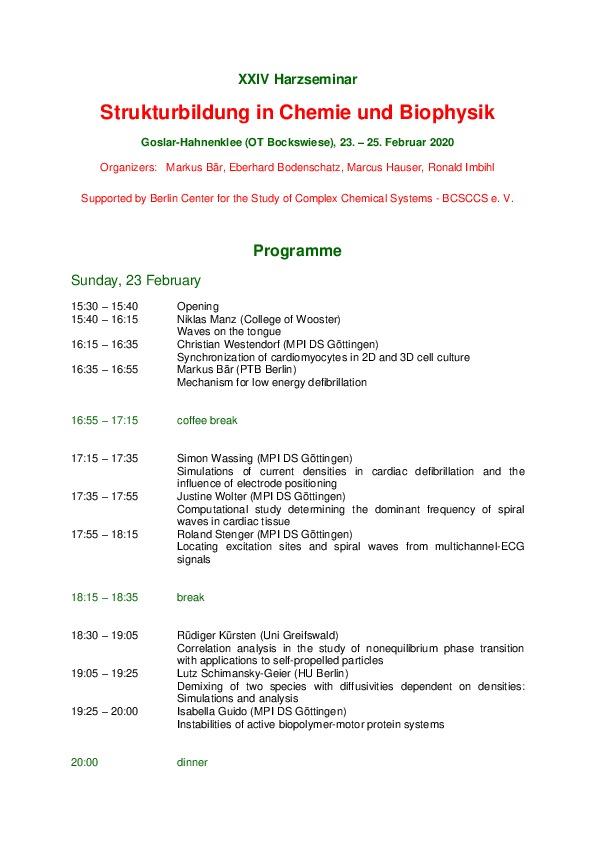 2020 Harzseminar - Scientific program