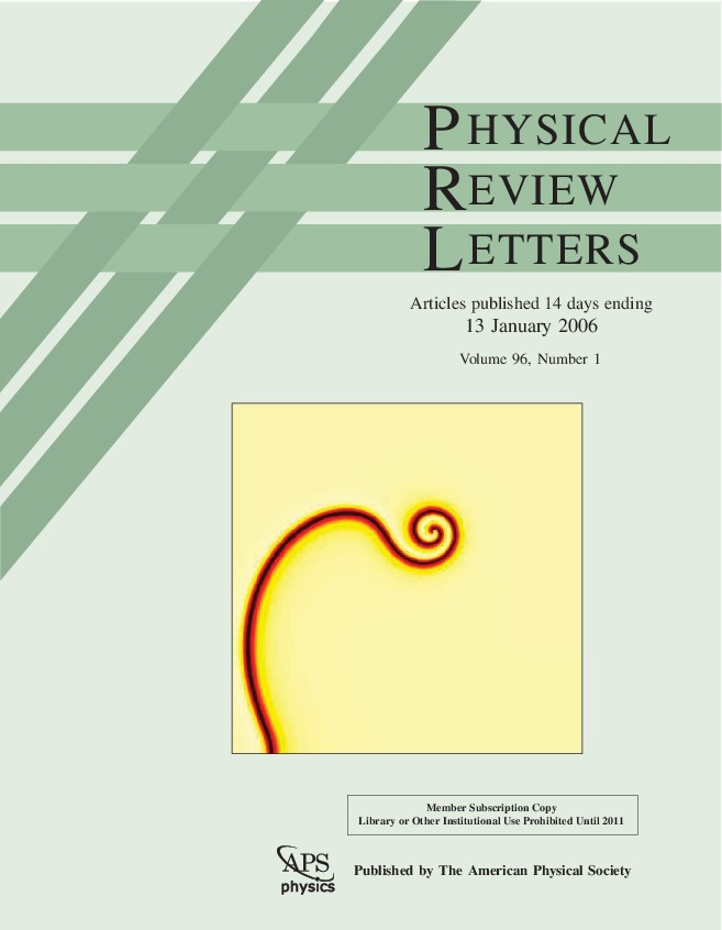 Cover Page of Physical Review Letters., Volume 96, Issue 1, 13 January 2006