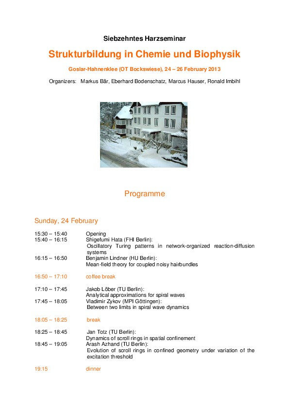 2013 Harzseminar - Scientific program