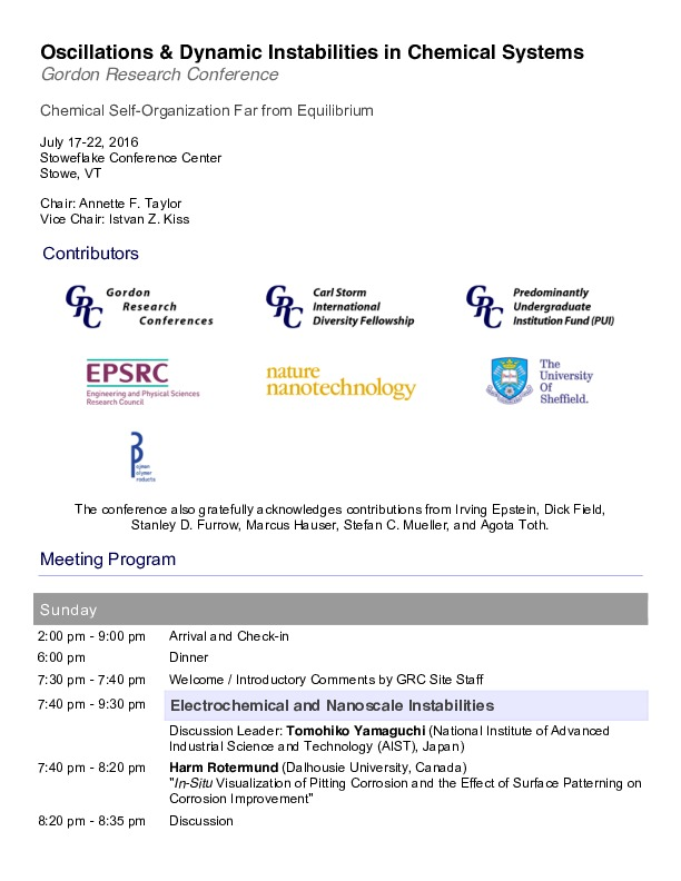 2016 Gordon Research Conferences: Oscillations & Dynamic Instability In Chemical Systems -  Program
