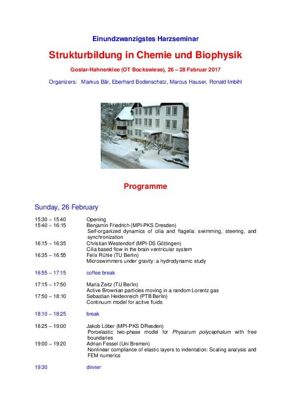 2017 Harzseminar - Scientific program