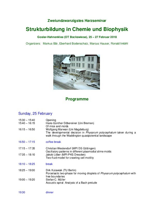 2018 Harzseminar - Scientific program
