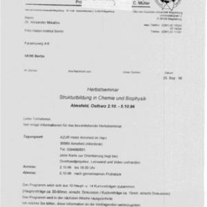 1996 Herbstseminar - Informational letter