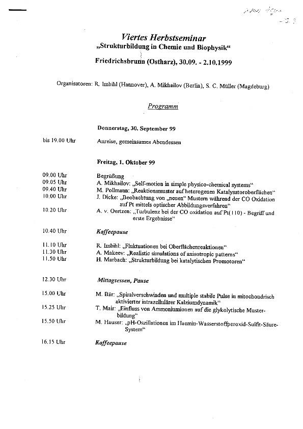 1999 Herbstseminar - Scientific program
