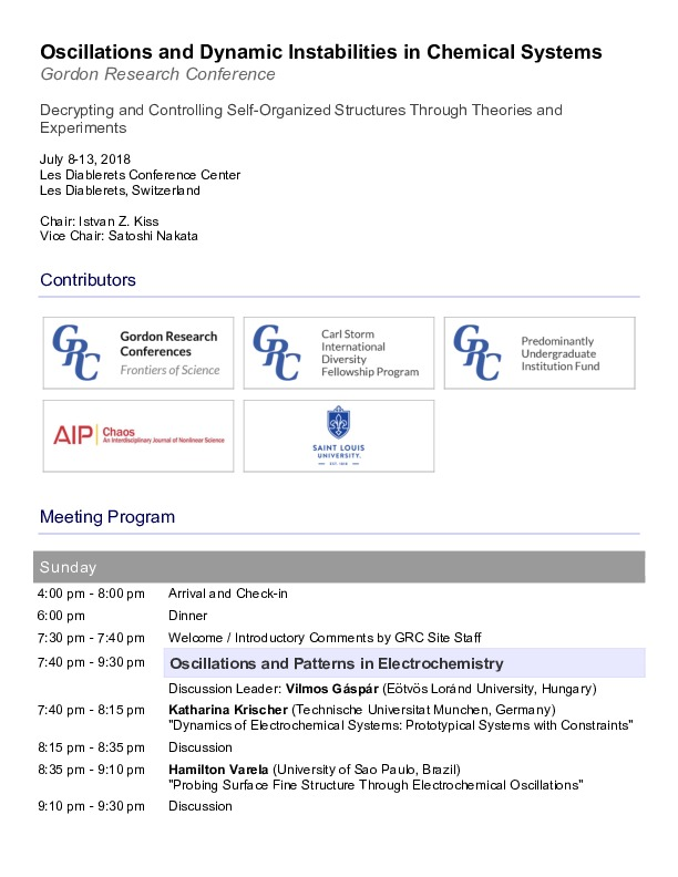 2018 Gordon Research Conferences: Oscillations & Dynamic Instability In Chemical Systems - Program