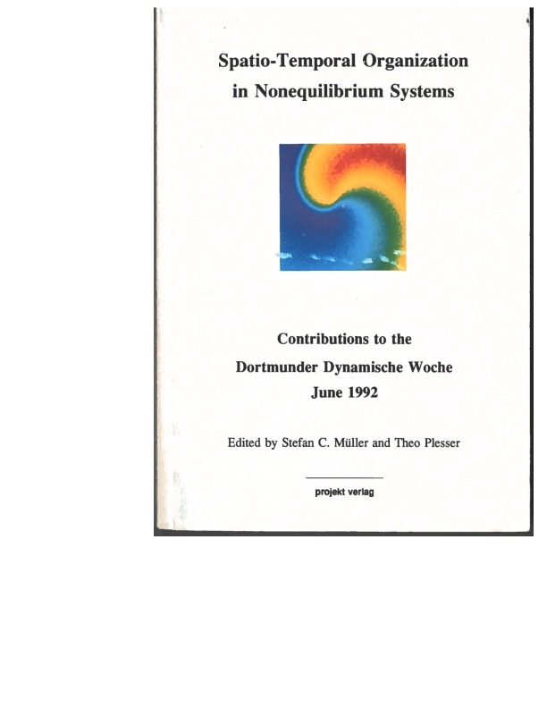 """Book cover of the 1992 book """"Spatio-Temporal Organization in Nonequilibrium Systems"""""""