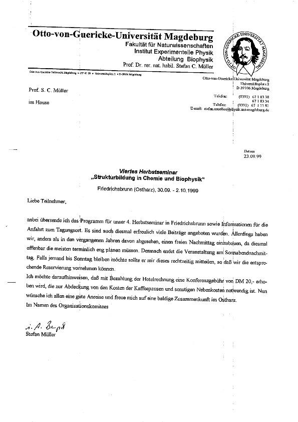 1999 Herbstseminar - Announcement letter