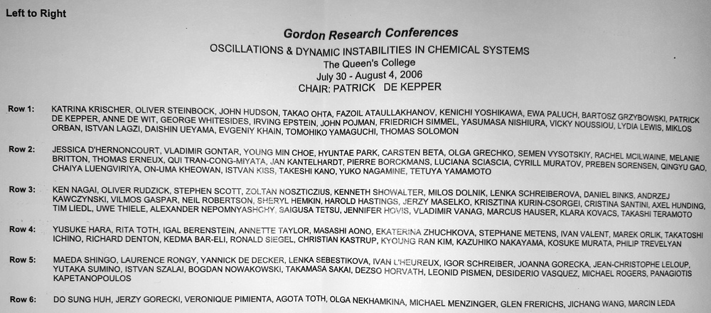 2006 Gordon Research Conferences: Oscillations & Dynamic Instability In Chemical Systems - Names